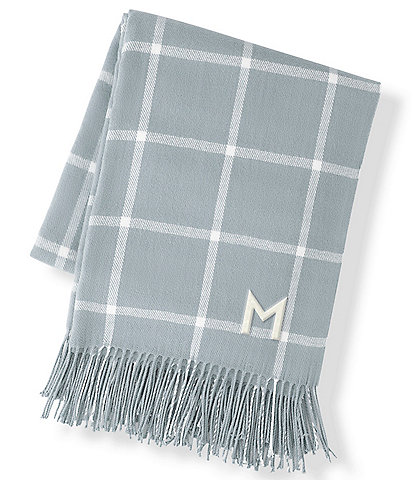 Cathy's Concepts Personalized Grey Windowpane Throw Blanket