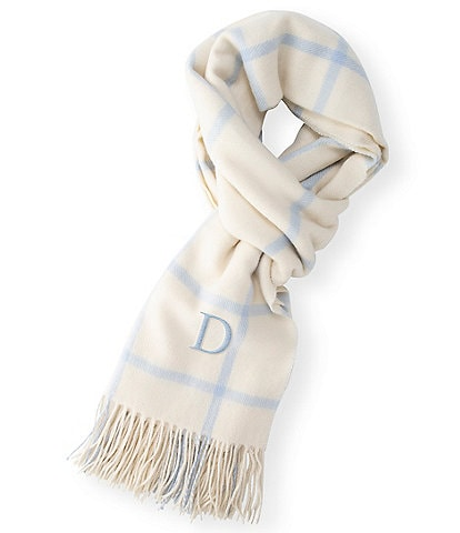 Cathy's Concepts Personalized Ice Blue Windowpane Blanket Scarf