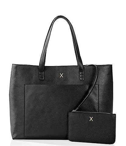 Cathy's Concepts Personalized Saffiano Vegan Leather Tote and Clutch Set
