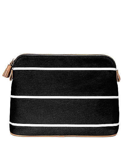Cathy's Concepts Tasseled Initial-Embroidered Striped Canvas Cosmetic Bag