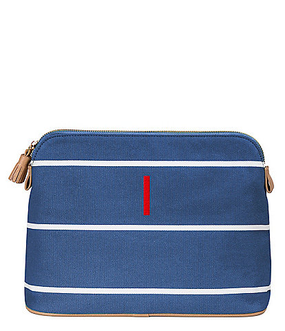 Cathy's Concepts Blue Tasseled Initial-Embroidered Striped Canvas Cosmetic Bag