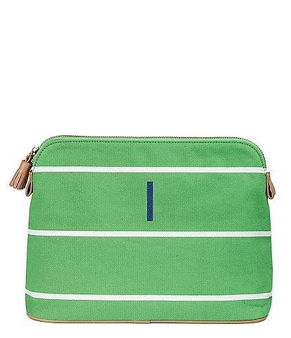 Cathy's Concepts Green Tasseled Initial-Embroidered Striped Canvas Cosmetic Bag