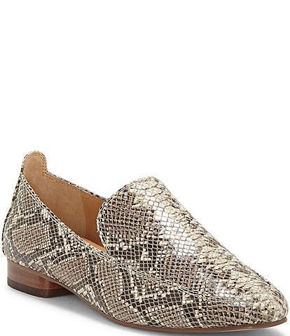 CC Corso Como Enjio Snake Print Leather Block Heel Loafers