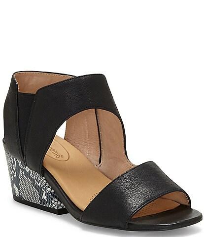 CC Corso Como Sayge Leather Snake Print Block Heel Sandals