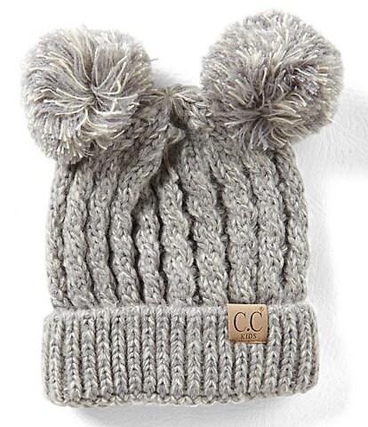 CC Girl Double Pom Beanie Hat