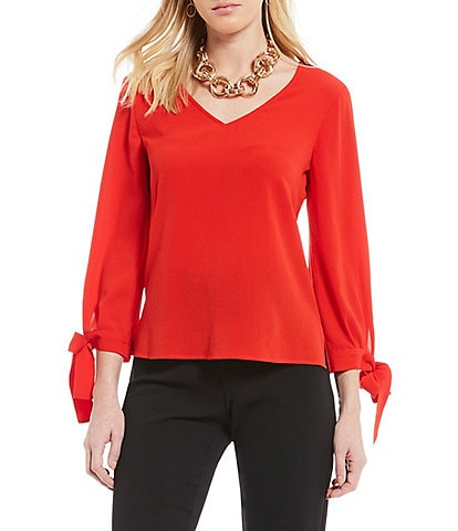 CeCe 3/4 Bow Tie Sleeve V-Neck Blouse