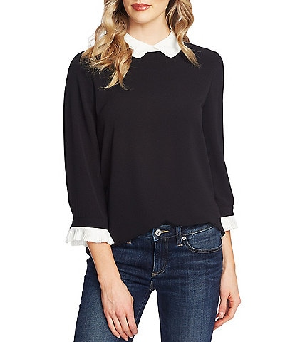 CeCe 3/4 Contrast Pleated Sleeve Peter Pan Collar Blouse