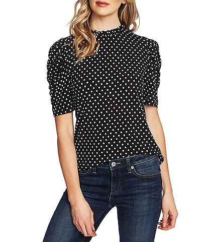 CeCe Polka Dot Puff Sleeve Ruffled Mock Neck Knit Top