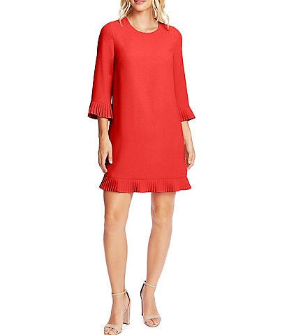 CeCe 3/4 Sleeve Pleated Trim Crepe Shift Dress