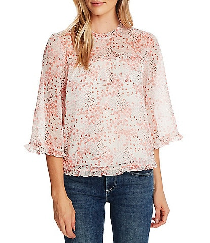 CeCe 3/4 Sleeve Ruffled Floral Print Blouse
