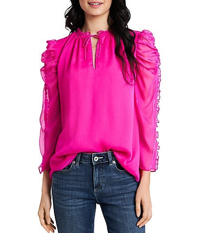 CeCe 3/4 Sleeve Tie Neck Ruffled Blouse