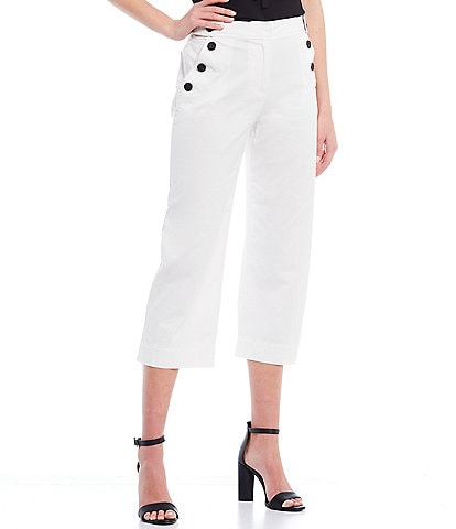 CeCe Button Detail Crop Pants