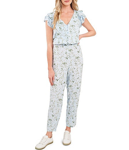 CeCe Cap Sleeve V-Neck Floral Print Ankle Length Jumpsuit