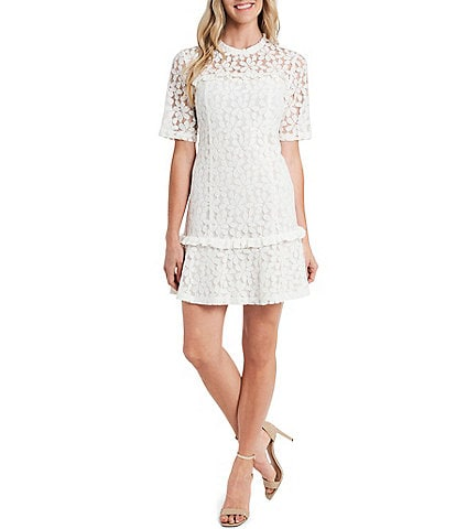 CeCe Elbow Sleeve Illusion Yoke Ruffled Hem Lace Dress
