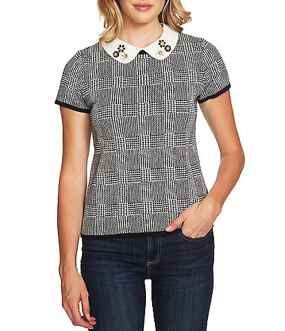 CeCe Embellished Peter Pan Collared Houndstooth Plaid Blouse