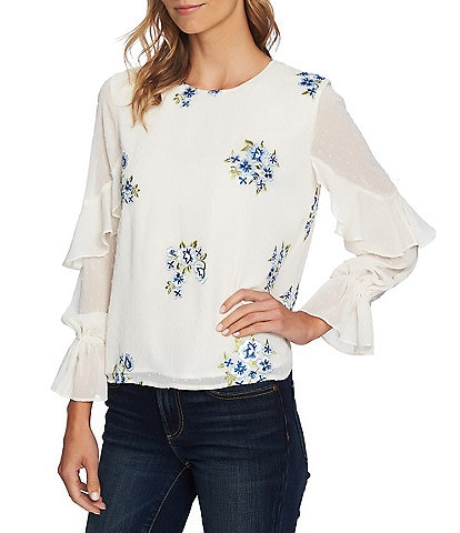 CeCe Novelty Sleeve Ruffle Floral Embroidered Blouse
