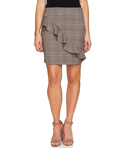 CeCe Feminine Glen Plaid Ruffle Detail Mini Skirt