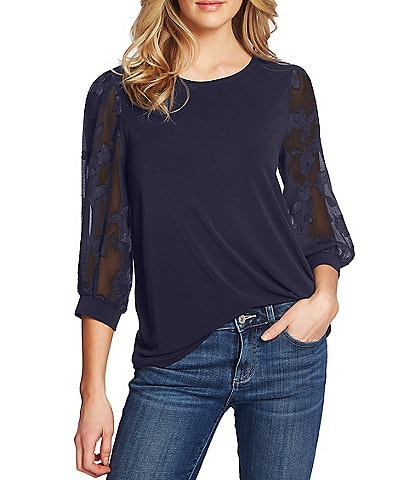CeCe Floral Clip Round Neck 3/4 Sleeve Knit Top