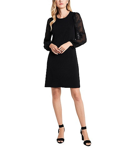 CeCe Floral Embossed Long Sleeve Knit Shift Dress
