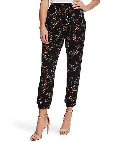 CeCe Floral Print Pull-On Jogger Pants