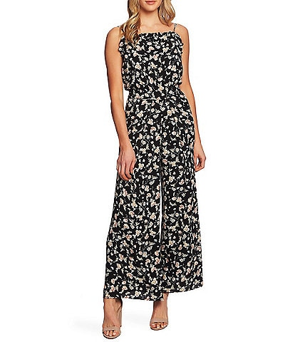 a8af559d41 CeCe Floral Print Sleeveless Ruffle Trim Square Neck Wide Leg Jumpsuit