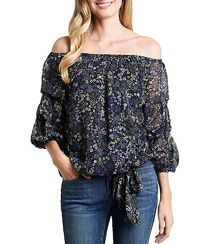 CeCe Floral Printed Off-The-Shoulder 3/4 Tiered Sleeve Tie Hem Blouse
