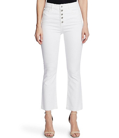 CeCe High Rise Button Fly Flared Ankle Jeans