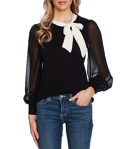 CeCe Long Poet Sleeve Mixed Media Bow Neck Sweater