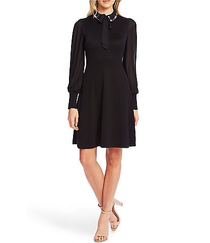 CeCe Long Sheer Bishop Sleeve Mixed Media Embellished Peter Pan Collar Bow Tie Neck Sweater Dress