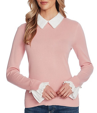 CeCe Long Sleeve Collared Mix Media Sweater