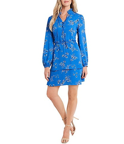 CeCe Long Sleeve Floral Print Tiered Hem Tie Neck Dress