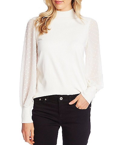 CeCe Long Sleeve Mock Neck Clip Dot Balloon Sleeve Sweater
