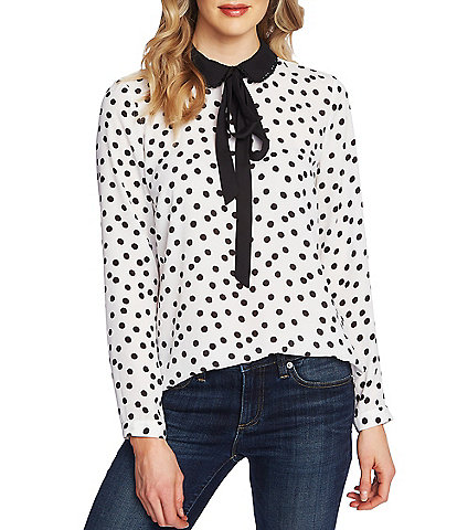 CeCe Long Sleeve Peter Pan Contrast Collar Dotted Blouse