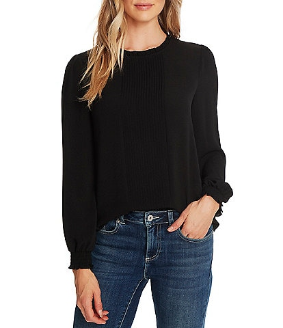 CeCe Long Sleeve Pintuck Front Pleat Smocked Cuff Blouse