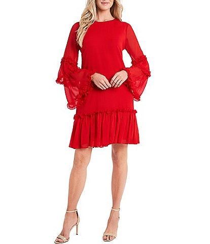CeCe Long Sleeve Tiered Ruffle Chiffon Shift Dress