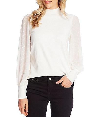 CeCe Mock Neck Long Sleeve Clip Dot Statement Sweater