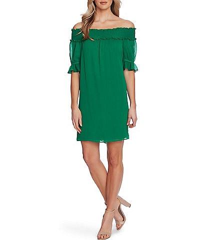 CeCe Off-the-Shoulder Chiffon Shift Dress