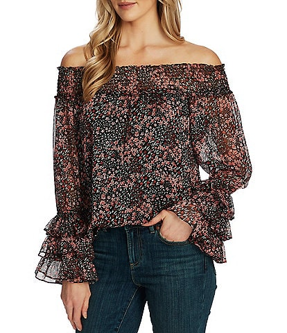 CeCe Off-The-Shoulder Long Sleeve Ditsy Floral Ruffle Sleeve Blouse