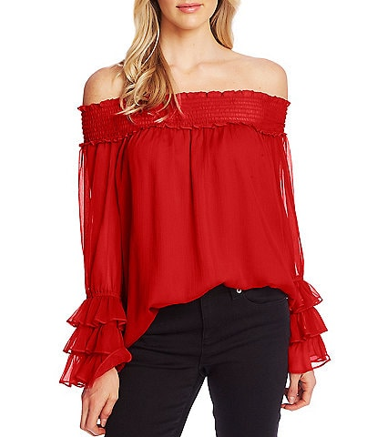 CeCe Off-The-Shoulder Long Sleeve Ruffle Detail Smocked Volume Blouse