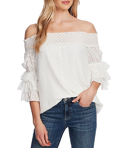 CeCe Off-The-Shoulder Smocked 3/4 Sleeve Clip Dot Blouse
