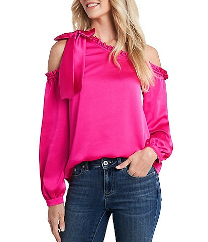 CeCe One-Shoulder Bow Detail Satin Ruffled Blouse
