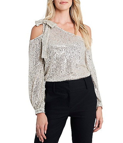 CeCe One Shoulder Long Sleeve Sequined Bow Blouse
