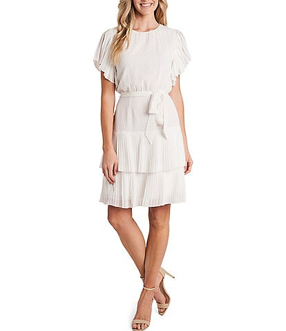 CeCe Pleated Short Sleeve Clip Dot Dress