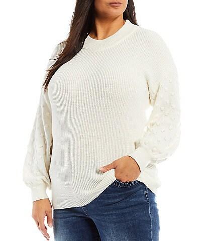 CeCe Plus Size Bobble Trim Long Sleeve Crew Neck Sweater