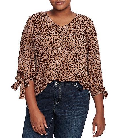 CeCe Plus Size 3/4 Tie Detail Sleeve Leopard Print Blouse