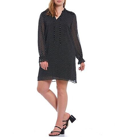 CeCe Plus Size Ditsy Dot Long Sleeve V-Neck Tie Neck Shift Dress