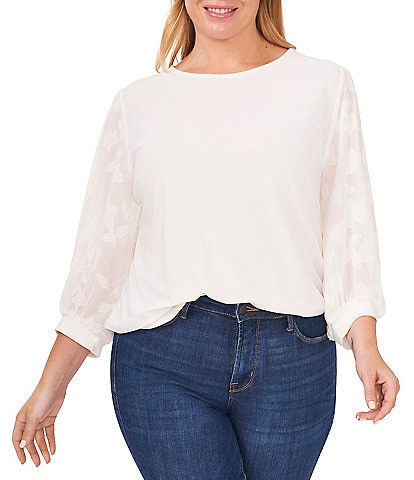 CeCe Plus Size Jewel Neck Lace 3/4 Sleeve Blouse