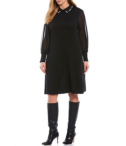 Cece Plus Size Long Sleeve Jeweled Collar Mixed Media Sweater Cotton Blend Dress