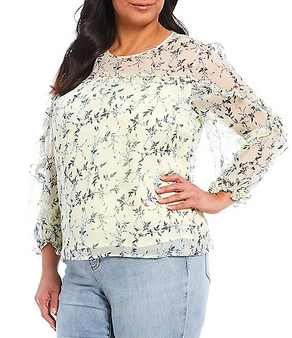 CeCe Plus Size Long Sleeve Ruffled Floral Print Blouse