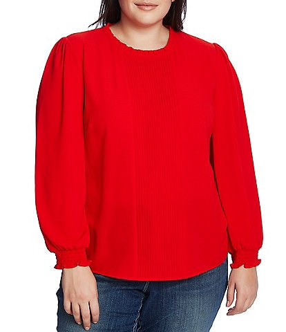 CeCe Plus Size Long Sleeve Smocked Cuff Pintucked Blouse